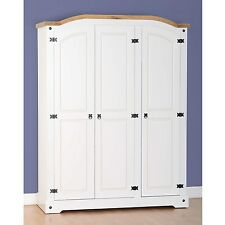 CORONA 3 Door Wardrobe - White Distressed Waxed Pine