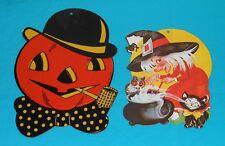 vintage Halloween decorations lot H.E. LUHRS PUMPKIN & EUREKA WITCH
