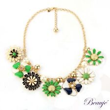 Necklace-enamel blue, green & white flowers-gold metal chain-gold plated finding