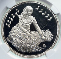 1979 MALDIVES ISLANDS Food Agriculture GIRL Proof Silver 100 Ruf Coin NGC i86673