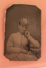 Tintype Photo Young Woman Hat Stunning Light Eyed Serenely Beauty