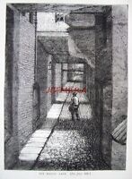 Antique Old London Engraved Print c1878 - 'Ivy Bridge Lane (The Strand)'