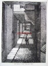 Antique Old London Engraved Print c1878 - 'Ivy Bridge Lane (The Strand)'