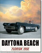 Vintage Replica Tin Metal Sign Ford Thunderbird Daytona Beach race Man Cave 1845