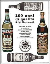 PUBBLICITA' 1957 VINO VERMOUTH CINZANO BIANCO ROSSO DRY CHINATO BOTTIGLIE WINE