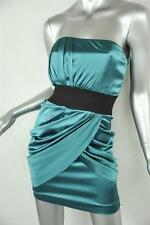 FOLEY & CORINNA Teal Stretch SILK SATIN *STRAPLESS*Ruched Belted Draped Dress XS
