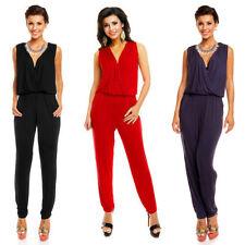 Damen-Overalls mit V-Ausschnitt aus Polyester in Größe 38