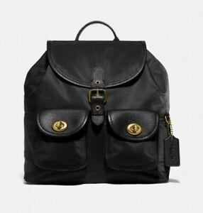Coach 277 Nylon & Leather Cargo Black/Brass Backpack Vintage Rose Print Interior