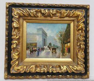 Vintage Illegible Signature French Impressionist Street Scene