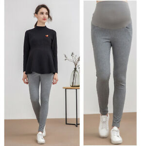 Skinny Trousers Overbumped Slim Pants Maternity Pregnancy Gray Comfy 8 10 12 14