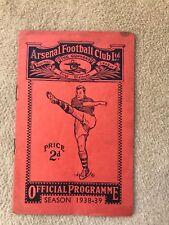 Arsenal v Middlesbrough Official Programme 1938-39