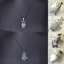 Mens Unisex Stainless Steel Silver Owl Pendant Leather Necklace Chain Charm