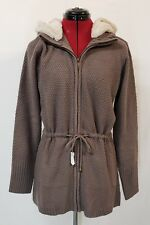 NWOT Dennis Basso Sweater With Detachable Faux Fur Hood Grey Size Medium