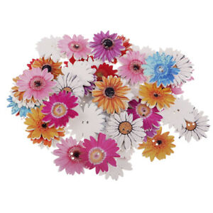 50pcs Assorted Daisy Flower 2 Holes Wooden Buttons for Sewing DIY Craft 25mm
