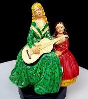 """VINTAGE CHALKWARE MOTHER PLAYING GUITAR WITH DAUGHTER 5 1/2"""" FIGURINE 1950's"""