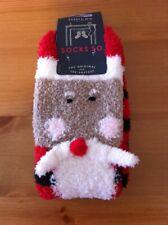 MEN'S JOULES FLUFFY CHRISTMAS SANTA SOCKS ONE SIZE (UK 7-12) WINTER FESTIVE GIFT