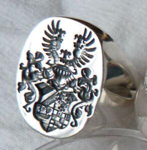 Siegelring,Wappenring 925 Silber Feines Wappen