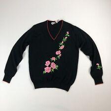 VTG Rochelle Black/Red/Pink Embroidered Rose Bud V-Neck Sweater Sz M