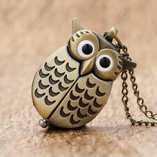 Cute Silver/Bronze Vintage Night Owl Necklace Quartz Pocket Watch Necklace Chain