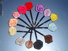 "(13) NEW HANDMADE 2.75"" Flower Rose Ribbon Hair Clip Barrette Bobby Pins Clamp"