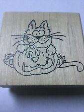 Halloween Cat Pumpkin Kitty Rubber Stamp by Inky Antics 1999