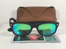 4ba61b87f2c Authentic Ray-Ban New Wayfarer Sunglasses RB2132 Matte Black Green Aqua  Flash
