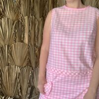 Vintage 1960s Pink Gingham Shift Dress Size XL attached Shorts