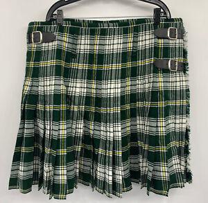 Mens Scottish Designs Tartans 100% Wool Plaid Kilt Green White Blue Size 44