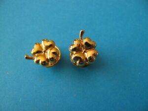 2, Shamrock Pin Badges, Gold Coloured Metal. VGC