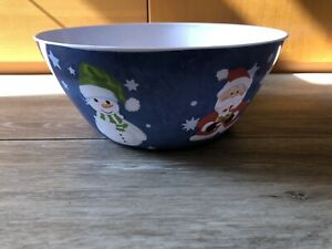 "12"" diameter holiday serving bowl citrus grove santa snowmen BPA free"