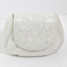 SWEET IMPERIAL FASHION WHITE PAISLEY BEADED OFF WHITE PLUSH EVENING CLUTCH PURSE