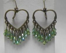 Green AB Acrylic BEADS CHANDELIER HEART Bronze Dangle LEVER BACK EARRINGS