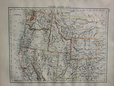 1900 VICTORIAN MAP ~ UNITED STATES NORTH WEST UTAH NEVADA OREGON MONTANA WYOMING