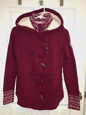 NWT Hollister by Abercrombie Sherpa Toggle Hoodie Sweatshirt Jacket S Burgundy