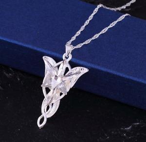 Lord of the Rings LOTR Arwen Evenstar Elfstone Crystal Pendant Necklace Hobbit