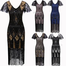 Women's 1920s Gatsby Inspired Sequin Beads Long Fringe Flapper Dresses Plus Size