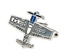 Men's Cufflinks Airplane Plane Blue Cuff links  25mm  4084