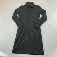 EDDIE BAUER womens DRESS SIZE S petite. gray herringbone button front K204