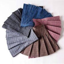 Women Girls Pleated Skirt Check Scottish Kilt A Line Mini Dress High Waist