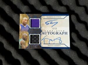 Shaquille O'Neal auto jersey Kevin Garnett autograph Dual Game Used Auto #d/12🔥