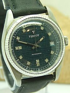Vintage Tissot Day Date 25 jewel automatic Blue Dial President watch cal 3104