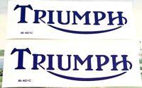 """Triumph 2"""" x 6"""" blue with white edge gas fuel tank die cut vinyl transfers, pair"""