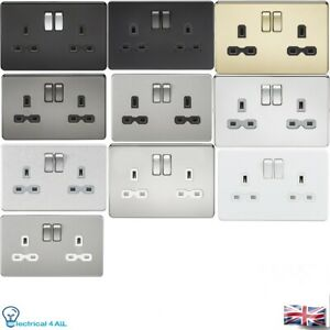 Knightsbridge Screw less 13A DP 2 Gang Switched Socket all the colour with in...