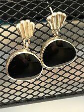 Onyx Enamel Dangle Earrings Sterling Silver 925 Black