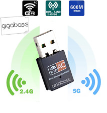 ✅WLAN WiFi Wireless USB Adapter 600Mbps Dual Band 2.4GHz 5GHz 802.11ac/n/g/b