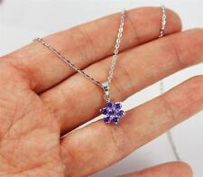 Pretty Solid 925 Sterling Silver, Purple Amethyst Pendant Necklace jewellery 456