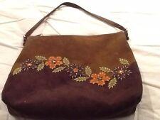 Vintage Suede Flower Design Bag Hobo Chic!!