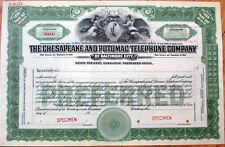 1920 SPECIMEN Stock Certificate: Chesapeake & Potomac Telephone Co. - Baltimore
