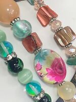 Lot Of Three Vintage Faceted Crystal Rhinestone Mop Glass Bead Stretch Bracelets