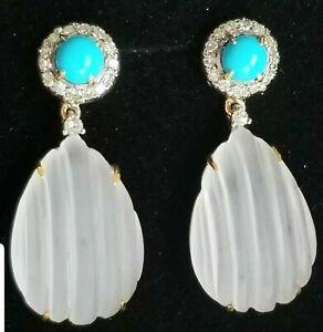 14k Gold Turquoise Diamond Rock Crystal Quartz Drop Earrings- Estate Jewelry 7g